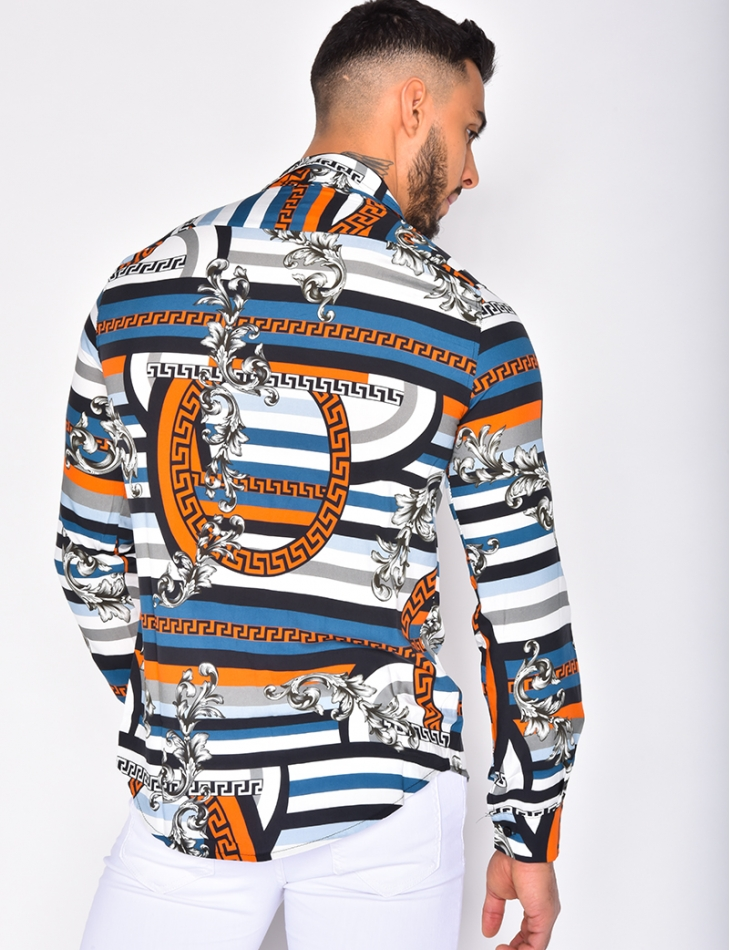 Loose Fit Shirt with Baroque and Symmetrical Patterns