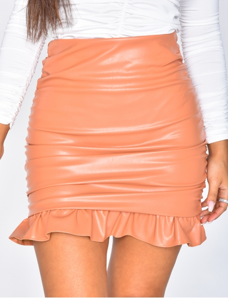 Faux Leather Drape Skirt