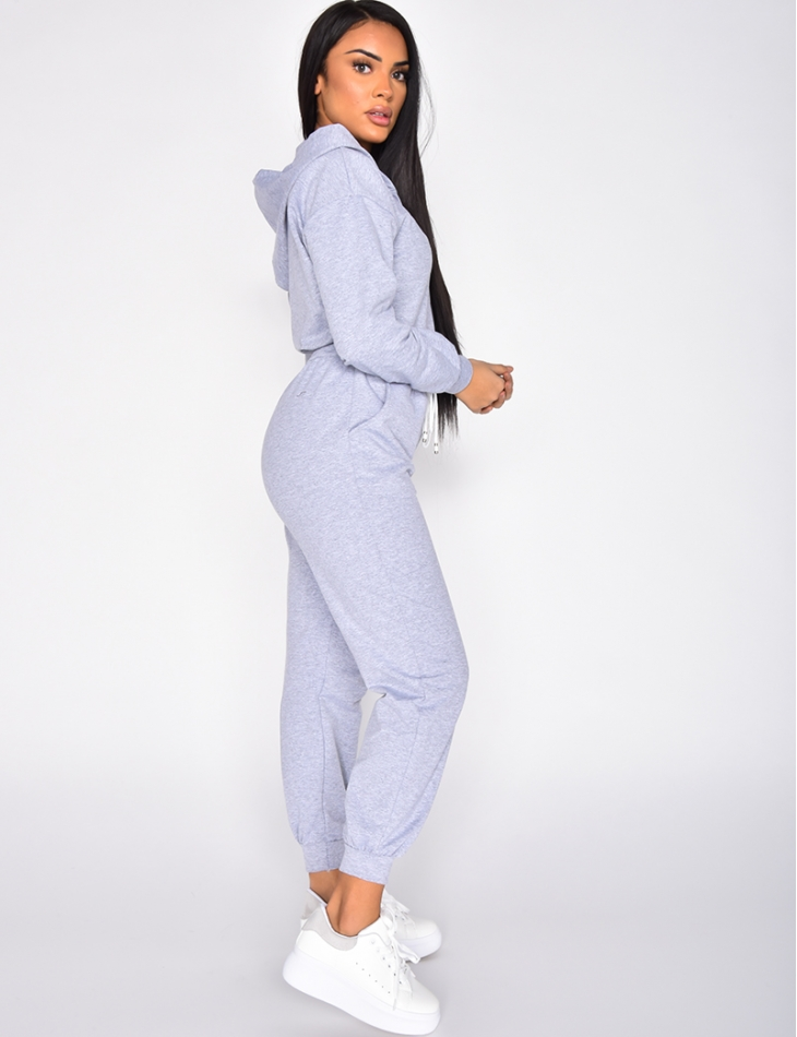Jumpsuit with Hood and Zip