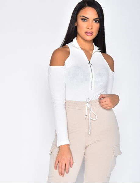 Long Sleeved Ribbed Bodysuit with Zip