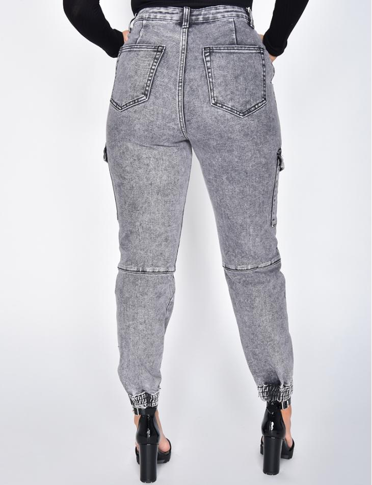 Jeans cargo à poches délavé