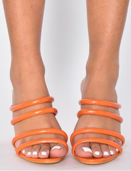 Sandales croco à talons