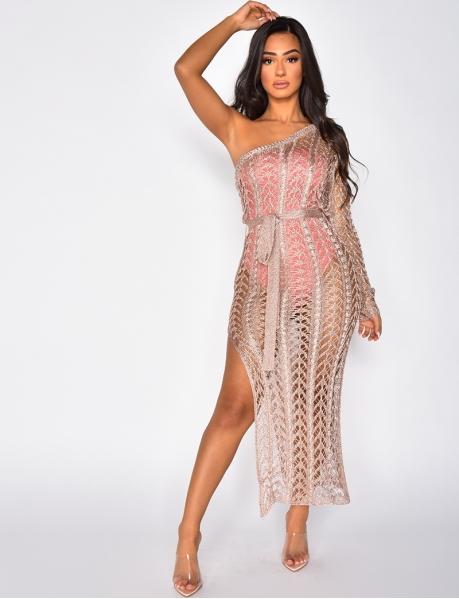 Long Glittery Knit Asymmetric Dress with Slit