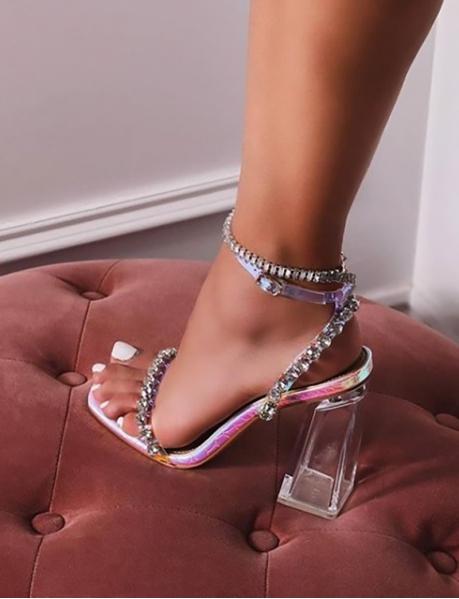 Sandales à strass à talons épais transparents