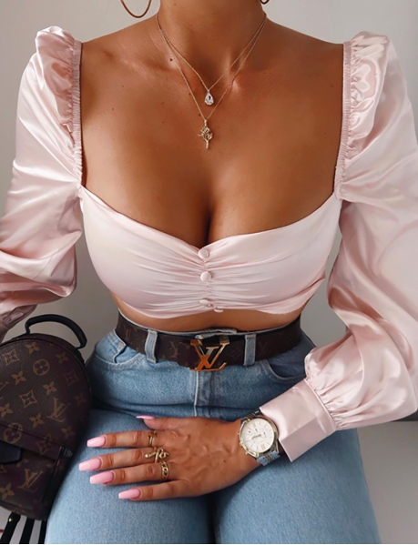 Crop top romantique en satin