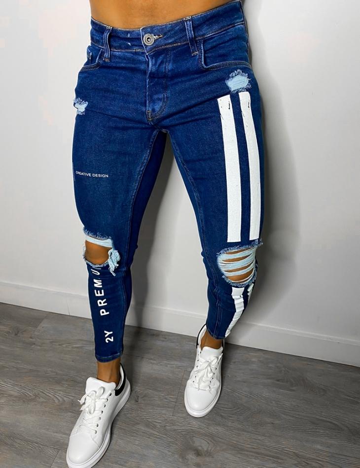 """Jeans """"2Y Premium"""" destroy à bandes jaunes"""
