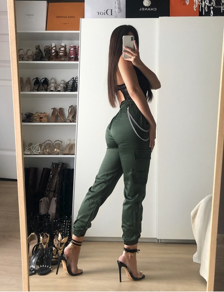 Satiny Cargo Trousers with Chain