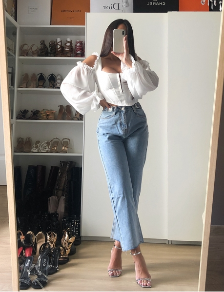 Jeans mom cropped