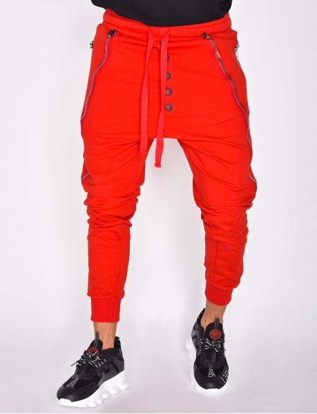Jogging Bottoms with Zips and Buttons