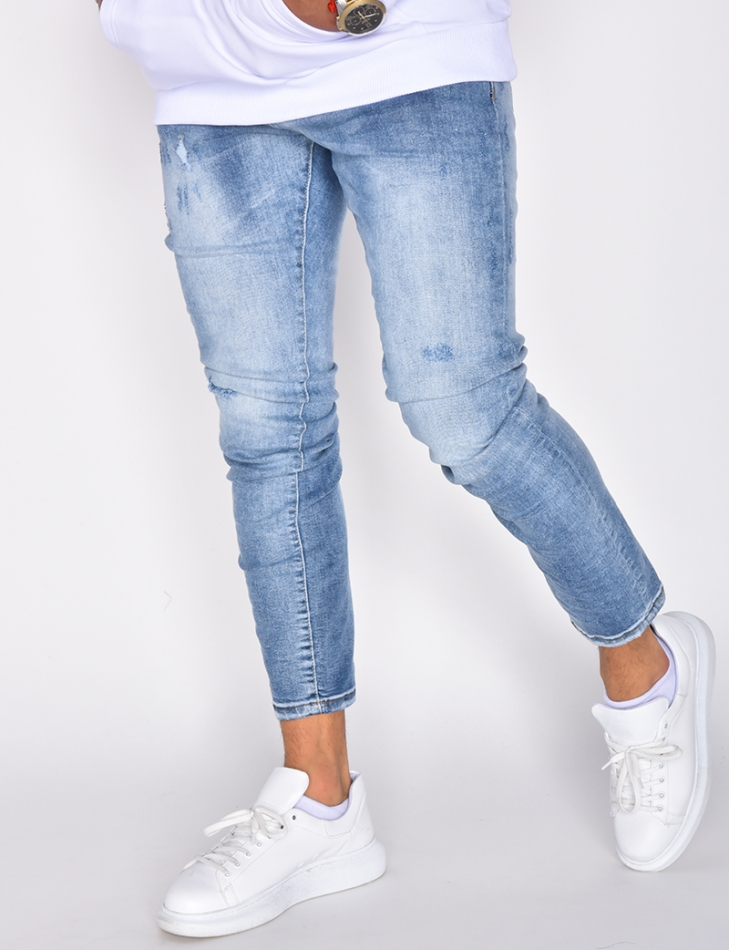 Jeans skinny destroy délavé