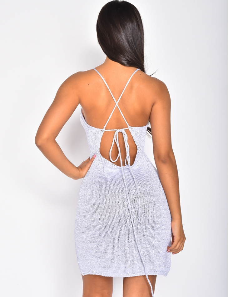 Iridescent Knit Backless Dress