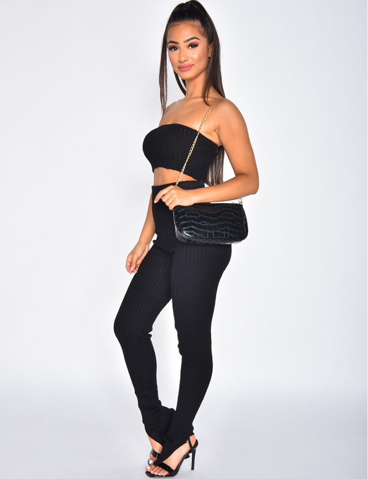 Ensemble crop-top et legging côtelé