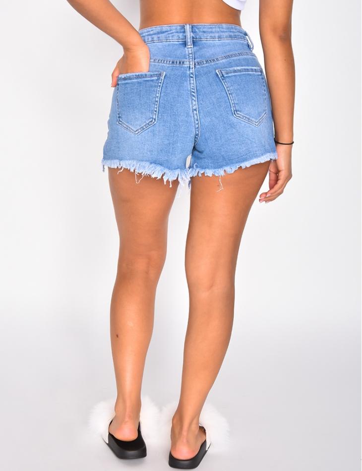 Short en jeans en résille à strass