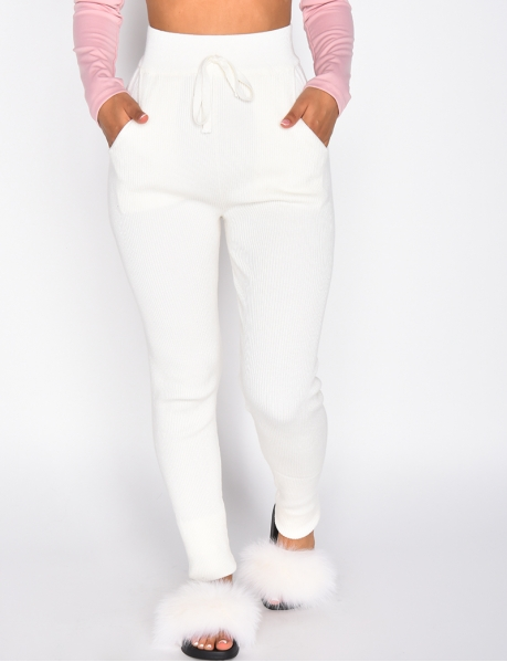 Loungewear High Waisted Ribbed Trousers
