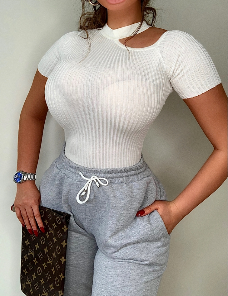 Ribbed Cut Out Top