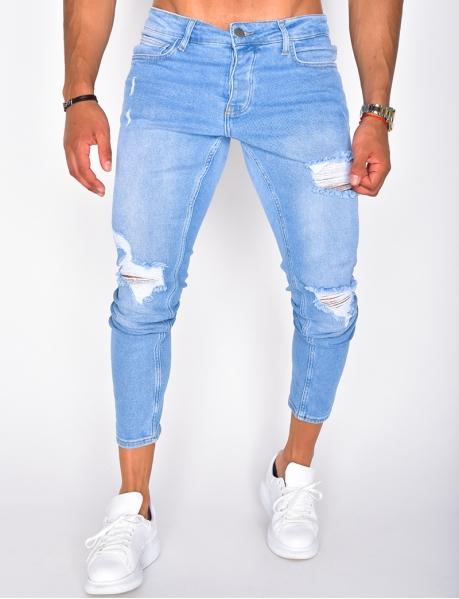 Blaue Jeans in Destroyed-Optik