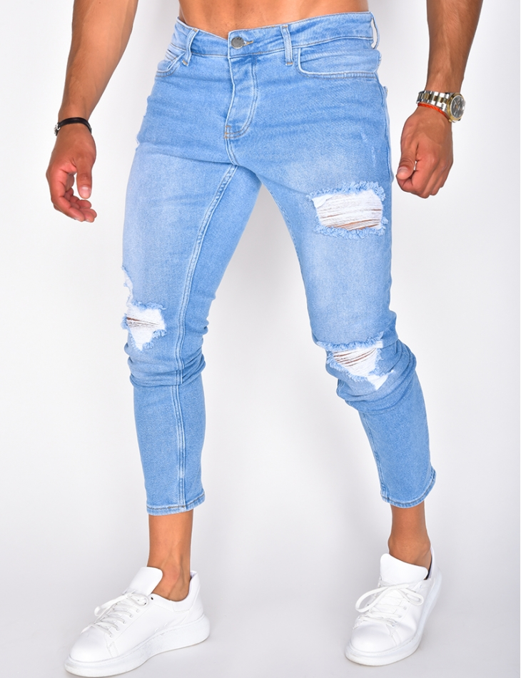 Jeans bleu destroy