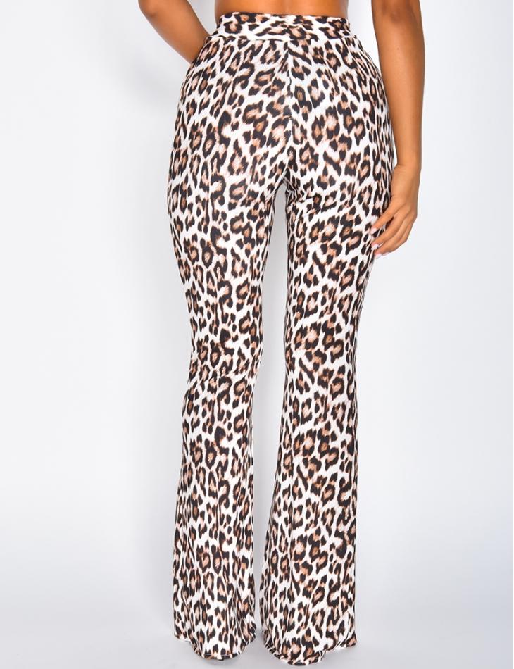 Pantalon patte d'eph motifs léopard