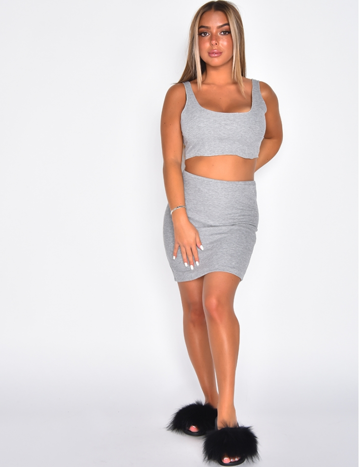 Ribbed Skirt and Crop Top Co-ord