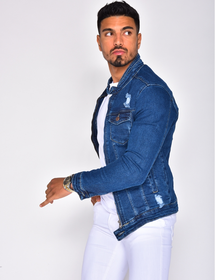 Veste en jeans destroy à zip