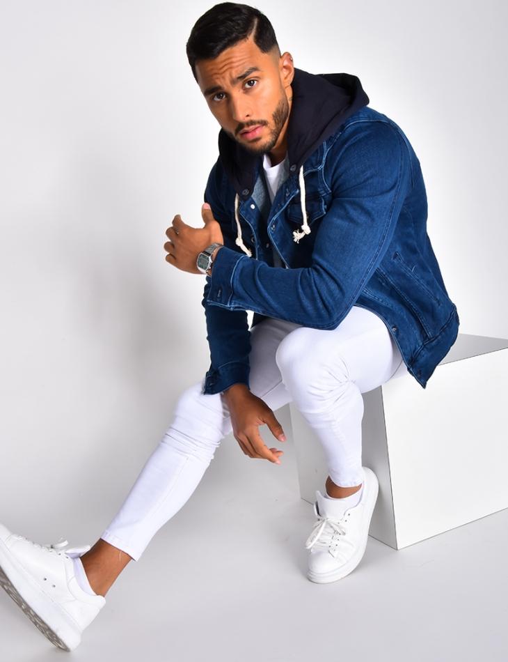 Veste en jeans bleu foncé