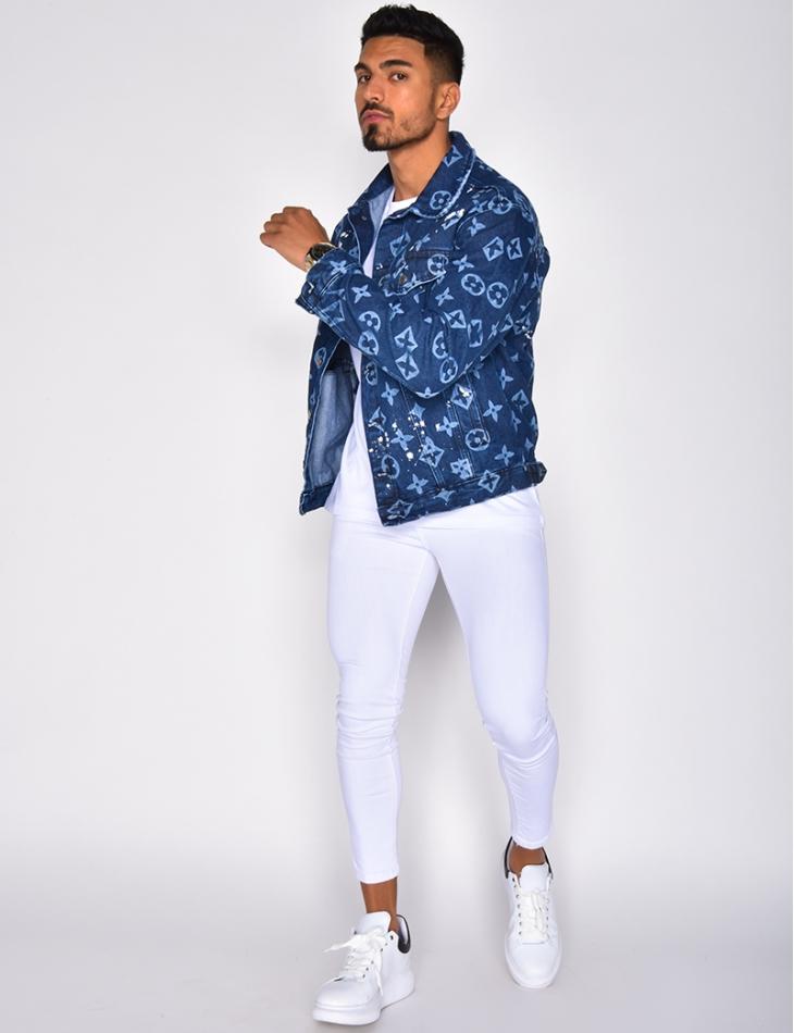 Veste en jeans à motifs et tâches de peinture