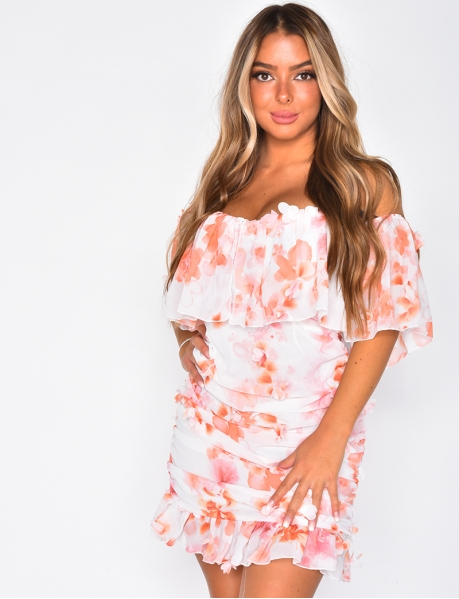 Voile Bardot Dress with Flowers