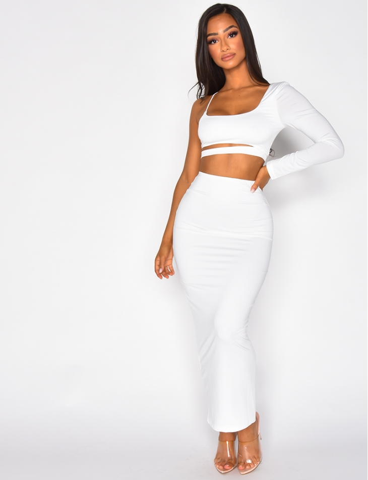 Crop Top and Long Skirt Co-ord