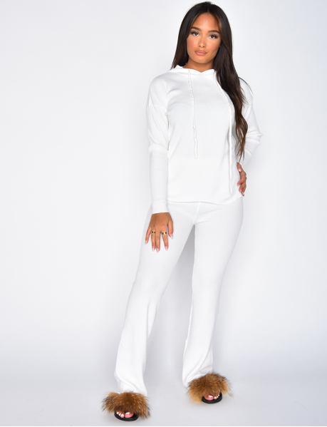 Flared Trousers & Hooded Jumper Loungewear Co-ord