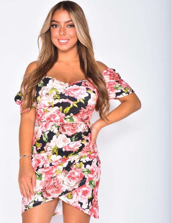 Robe bardot à motifs fleurs