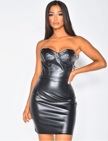 Robe bustier en simili