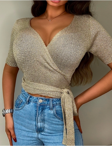 Iridescent Knit Wrapover Top
