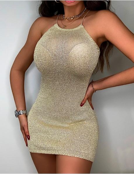 Iridescent Knit Backless Dress