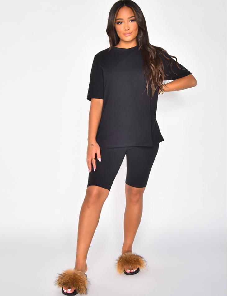 Ensemble t-shirt oversize et short cycliste