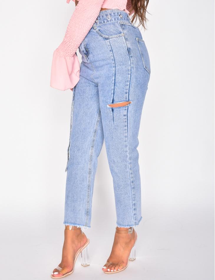 Jeans destroy à ceinture