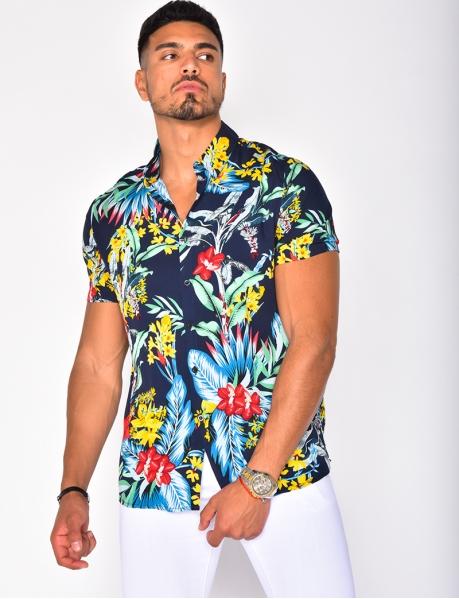 Chemise fluide à motifs tropicaux