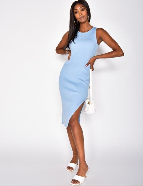 Long Ribbed Slit Dress