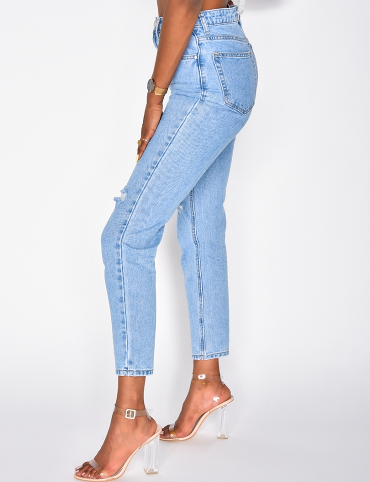 Mom jeans taille haute destroy