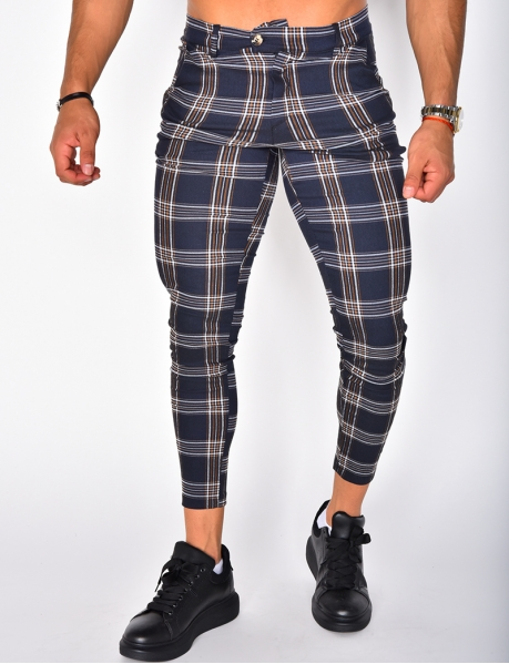 Pantalon à carreaux et rayures
