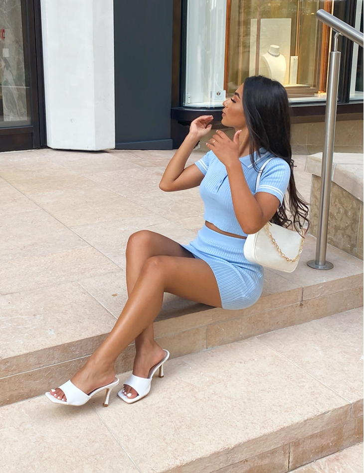 Ribbed Polo Shirt and Skirt Co-ord