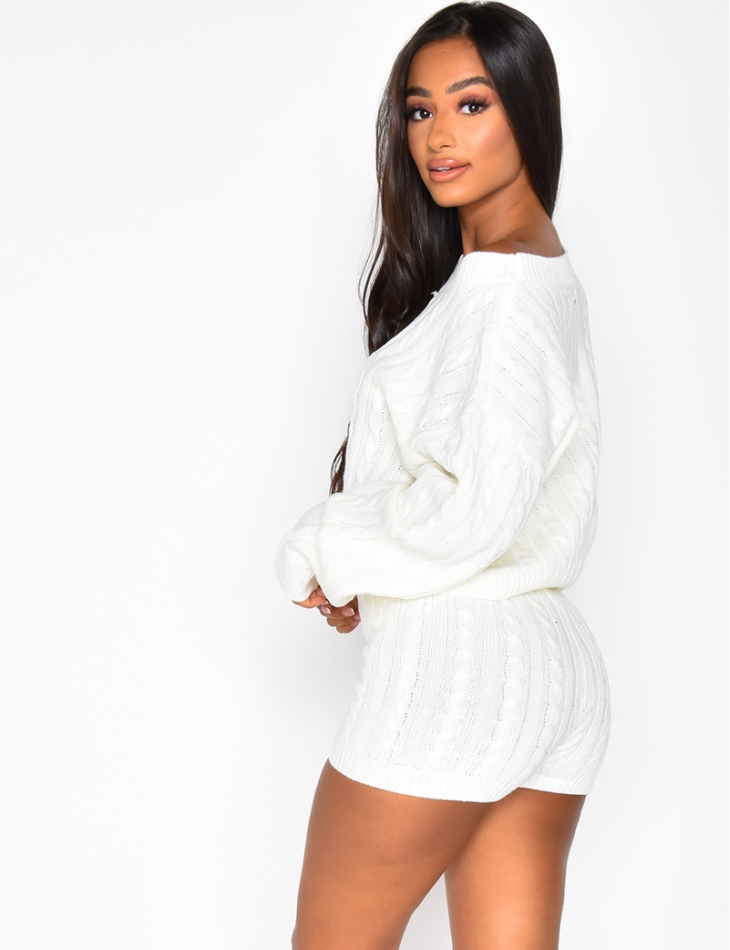 Ensemble  pull et short natté