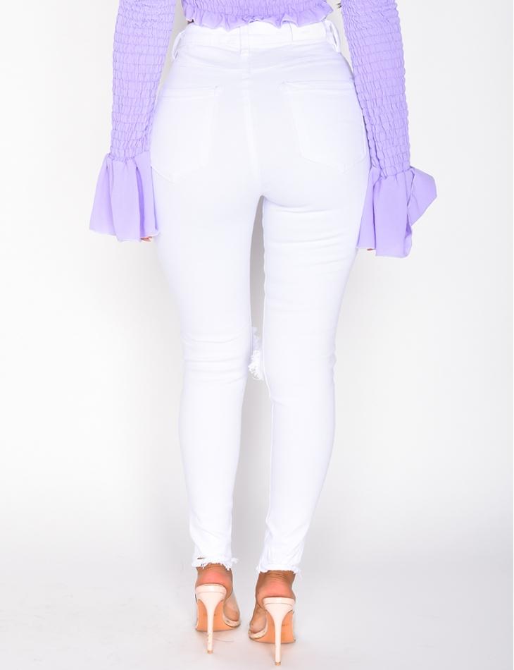 Jeans skinny taille haute destroy