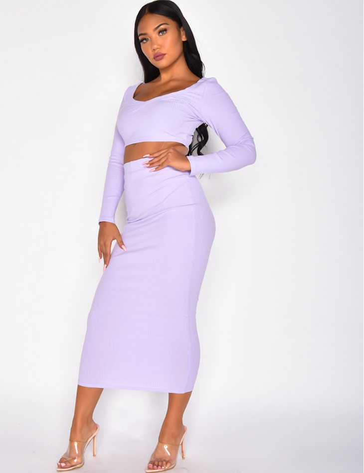 Ribbed Crop Top and Long Skirt Co-ord
