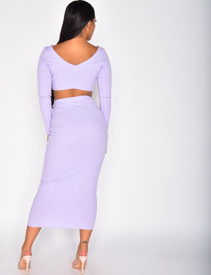 Ensemble côtelé jupe longue et crop-top