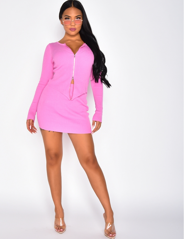 Ribbed Zip Top and Skirt Co-ord