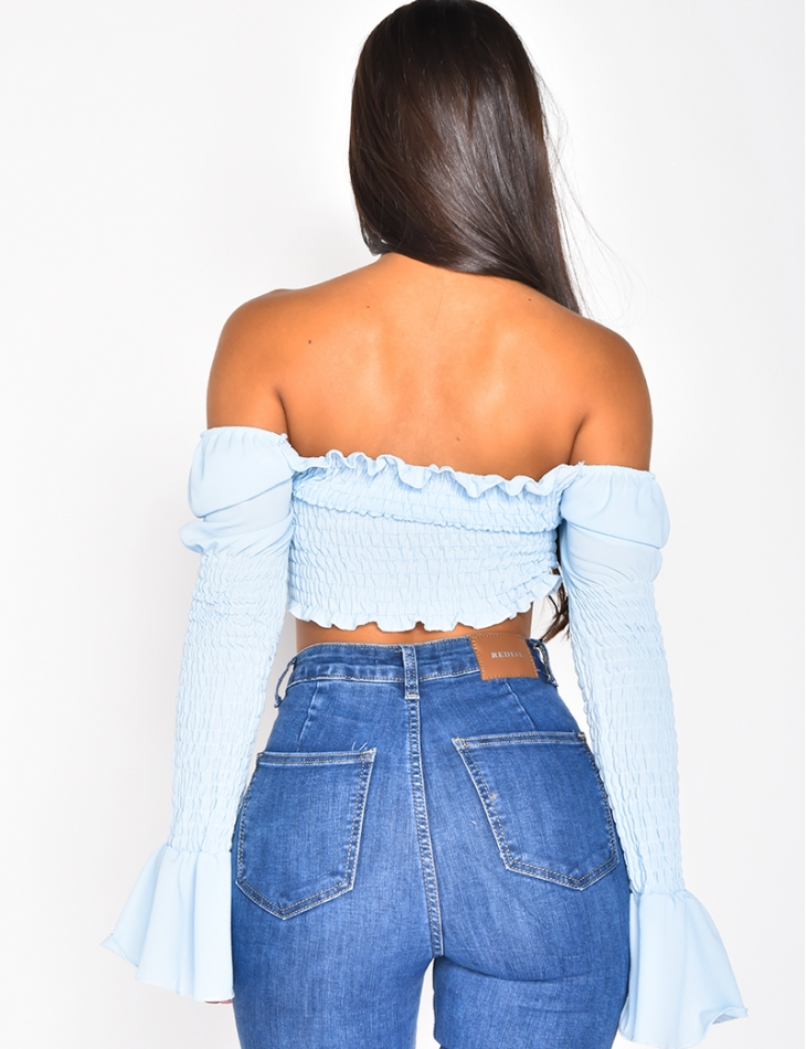 Long Sleeved Gathered Crop Top