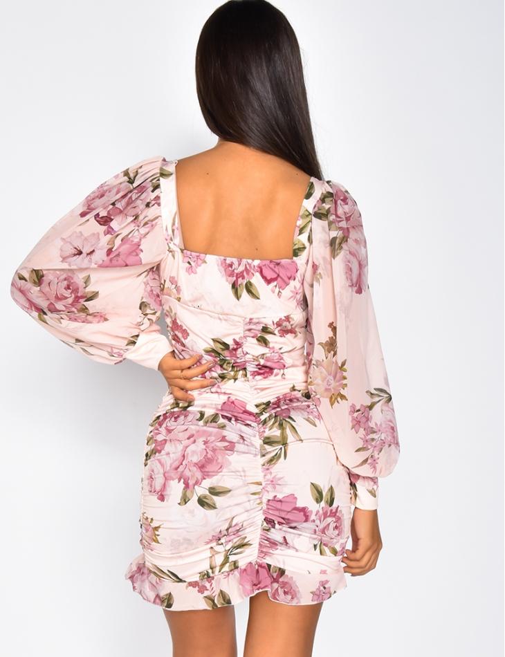 Robe fleurie drapée