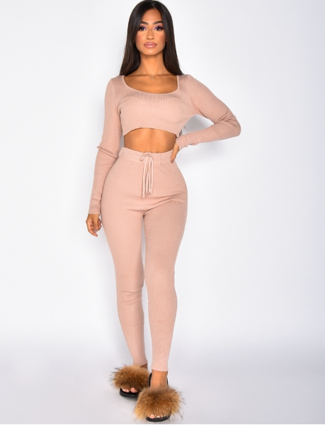 Ribbed Hooded Crop Top and Tie Trousers Co-ord