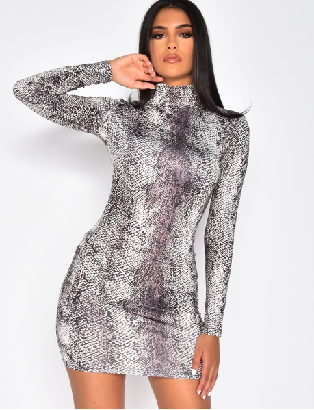 Bodycon Dress with High Neck