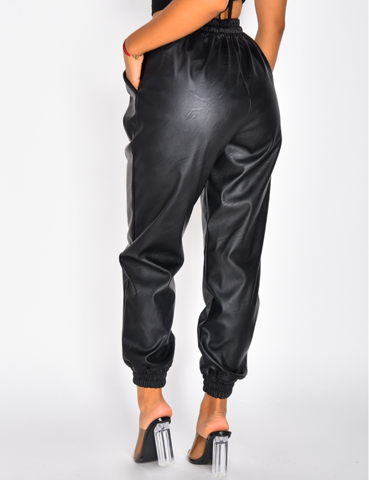 Pantalon de jogging en simili